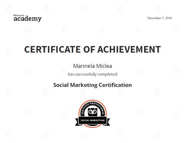 Image: Hootsuite: Social Marketing Certification - Marinela Miclea