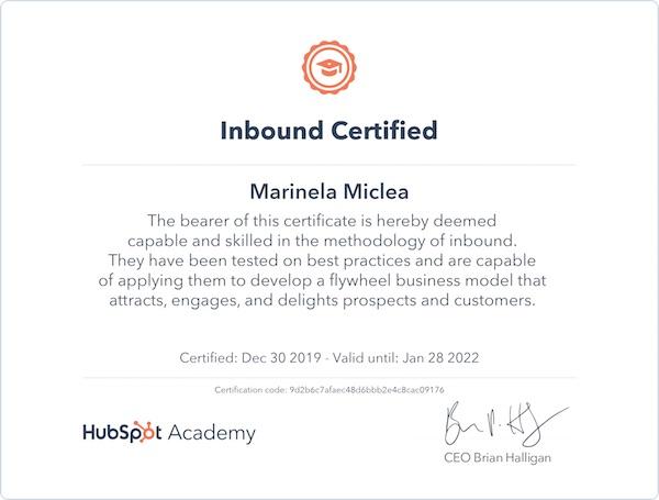 Image: HubSpot: Inbound Certified 2019 - Marinela Miclea