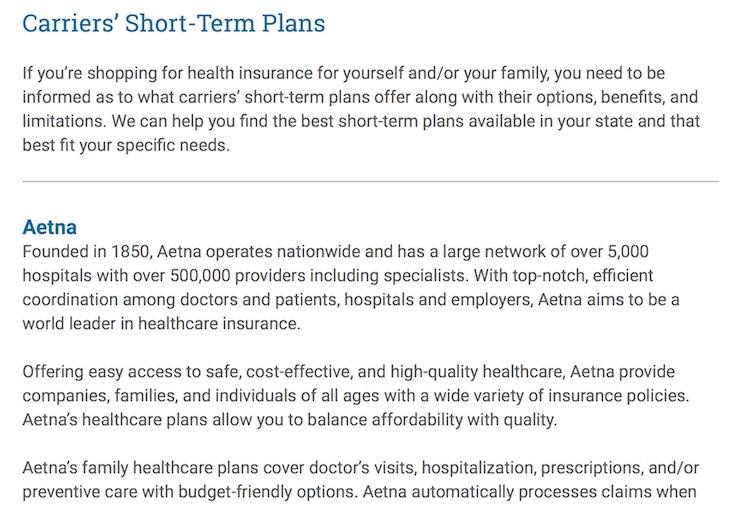 Image: Insurance carriers: short-term plans