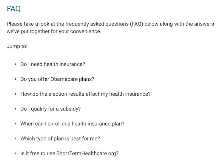Short-term healthcare FAQ